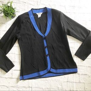 Exclusively Misook black blue cardigan sweater S